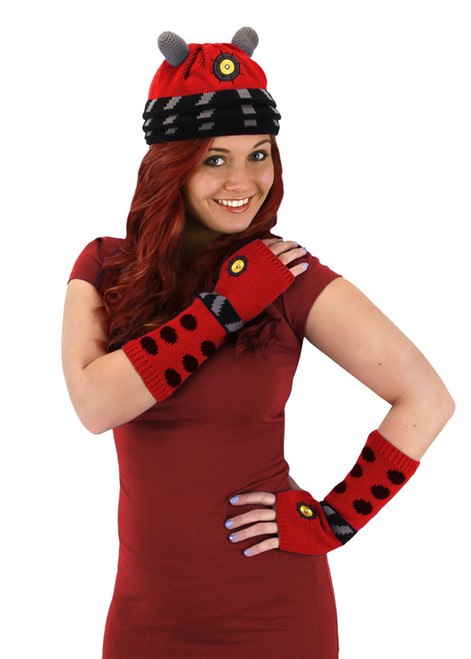 Doctor Who: DALEK RED Beanie Hat & Arm Warmers Set