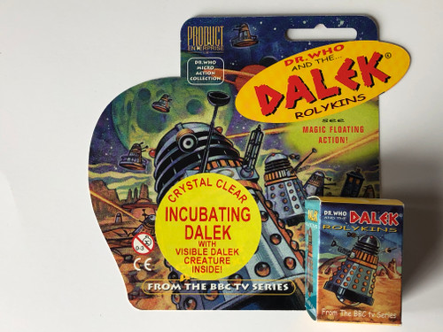 Rolykin TV Dalek by Product Enterprise in Display Box  - Clear with Dalek Creature Inside (YELLOW Version)
