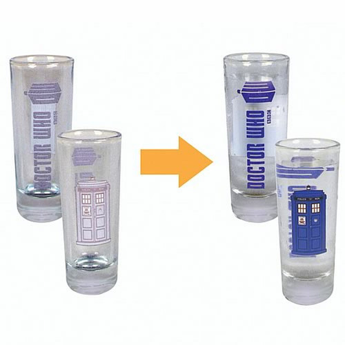 """Doctor Who TARDIS  """"Color Changing""""  2 Ounce Shot Glass - Set of 4"""