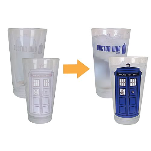 """Doctor Who TARDIS """"Color Changing""""  16 Ounce Pint Glass - Set of 2"""