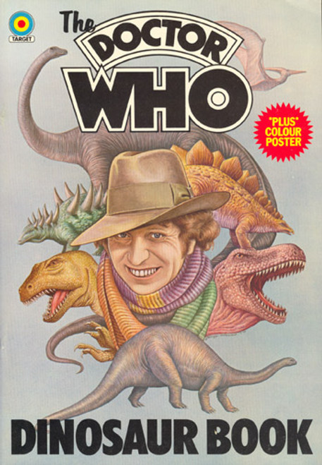 Doctor Who DINOSAUR BOOK - Vintage 1970s Softcover with Pull-Out Poster