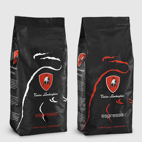 2 bags of Tonino Lamborghini Platinum & Red 1kg Coffee Beans