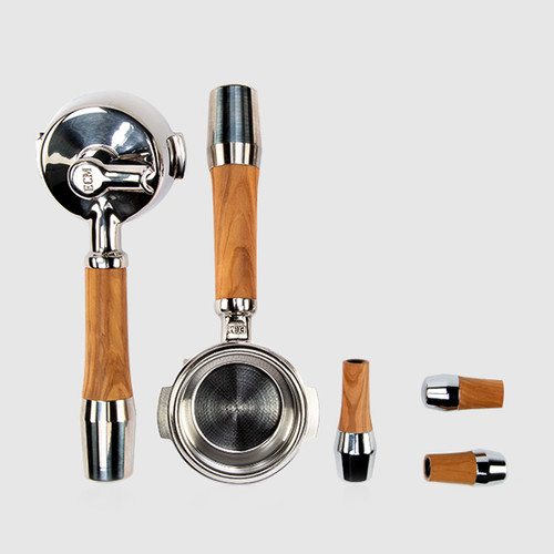 ECM Olive Wood Handle Set with Lever Valves