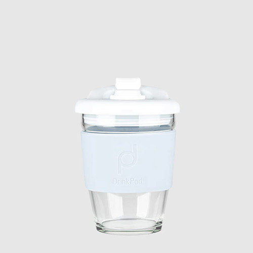 DrinkPod 340 ml Reusable Glass Cup - Winter/White
