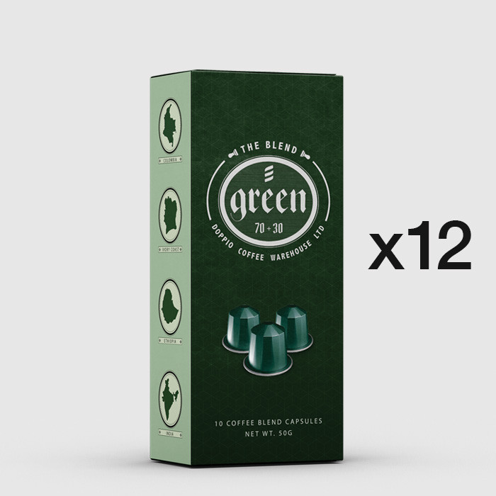 Doppio Green Blend - 12 boxes of Nespresso Compatible Aluminium Coffee Capsules