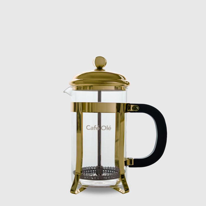 3 Cup Cafetière (350ml) - Glass Body with Gold Finish Casing