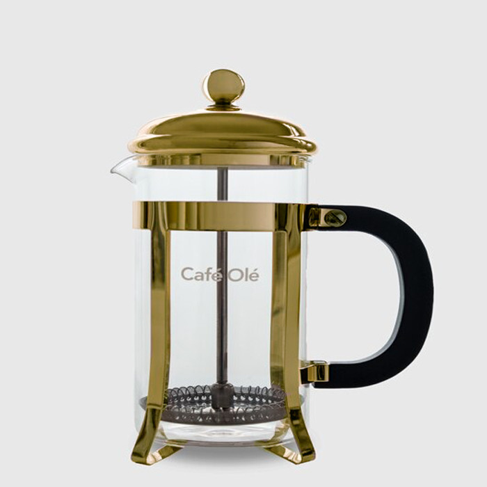 6 Cup Cafetière (800ml) - Glass Body with Gold Finish Casing