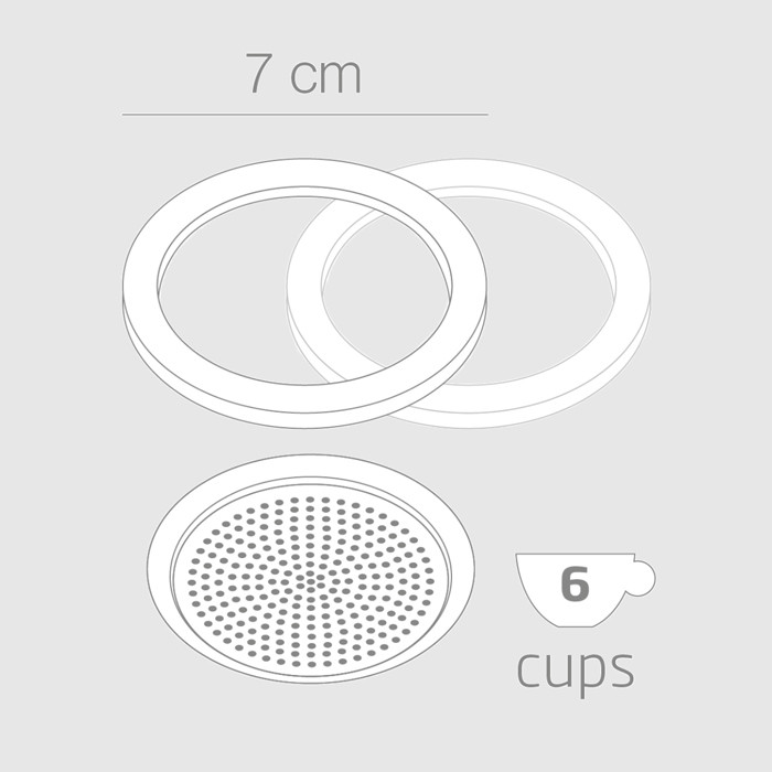 6 Cup Replacement Aluminium Filter + 2 Silicone Gaskets for the Prestige 'Electro'