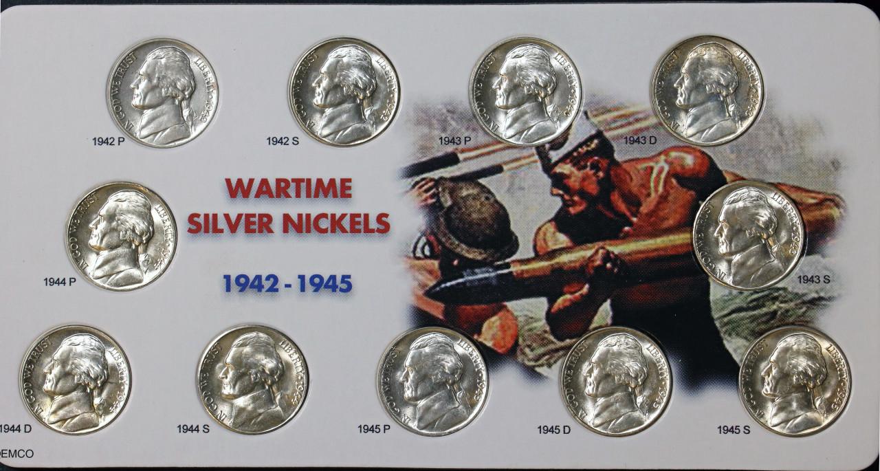 1 ROLL of SILVER WAR NICKELS 1945 P Jefferson Nickel Roll.