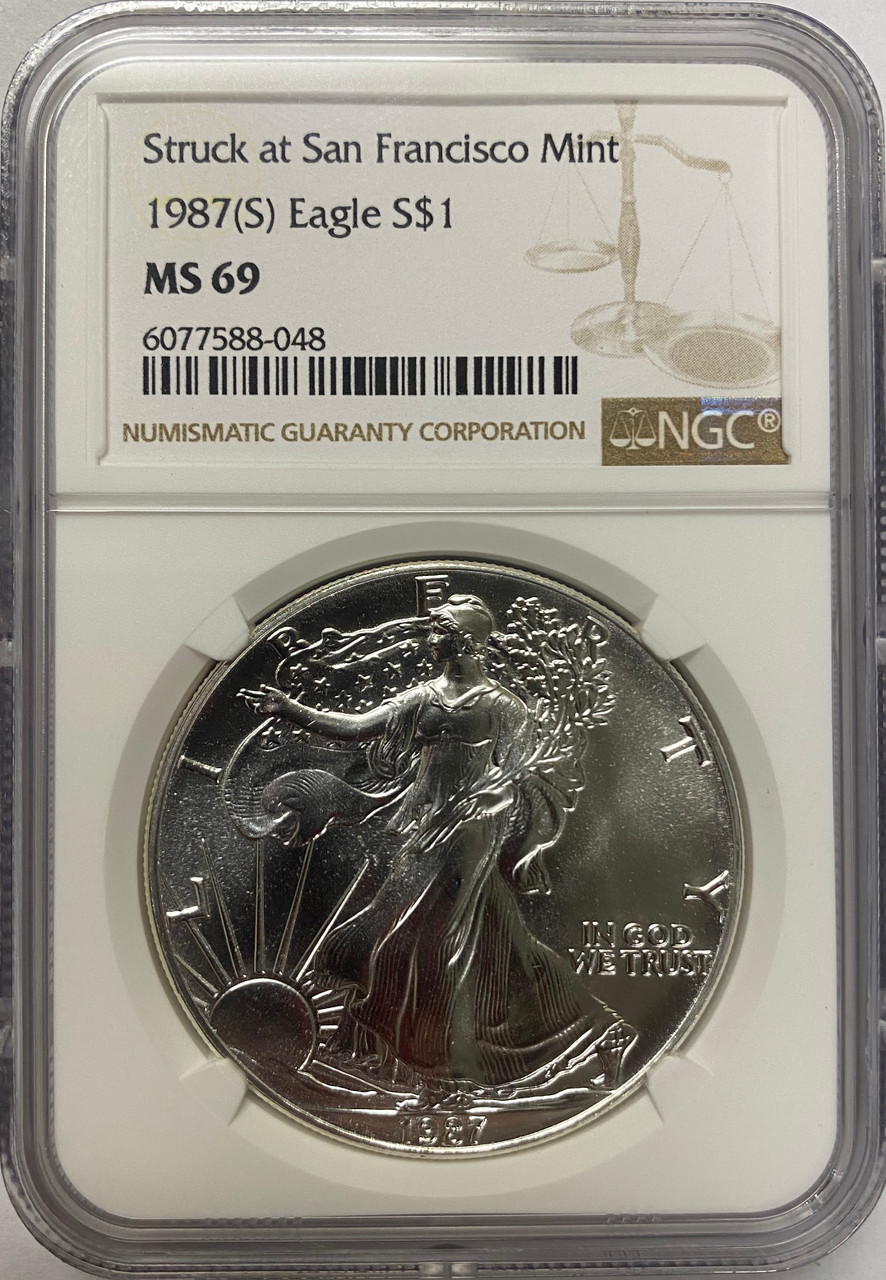 Flag Label NGC MS69 Details about  /1987 American Silver Eagle