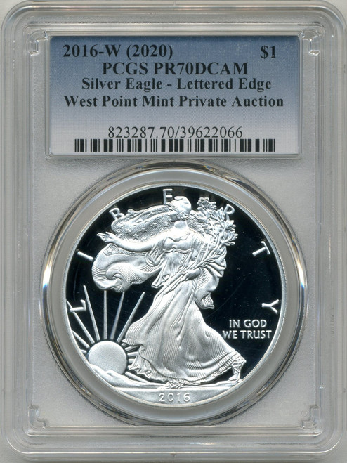 2016 (2020) Silver Eagle PCGS PR70 DCAM Lettered Edge WP Mint Private Auction