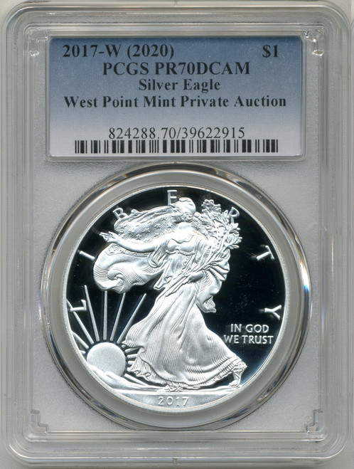 2017-W (2020) Silver Eagle PCGS PR70 DCAM WP Mint Private Auction