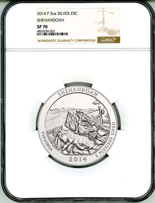 2014-P 25c 5oz  America the Beautiful  NGC SP70 Shenandoah