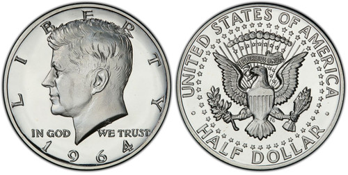 1964 Kennedy Half Dollar Choice Proof - Accented Hair