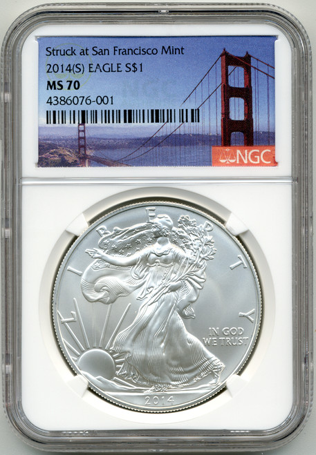 2014 (S) Silver Eagle NGC MS70 - Struck at San Francisco