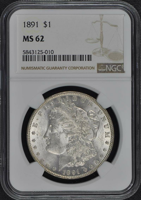 1891 Morgan Silver Dollar NGC MS62- 150th Anniversary