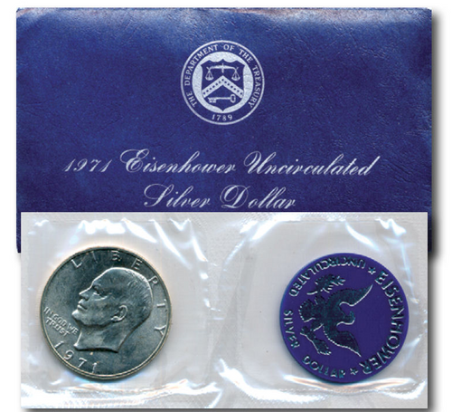 Mint government issued packaging for the Blue Ike 1971 Silver Eisenhower dollar