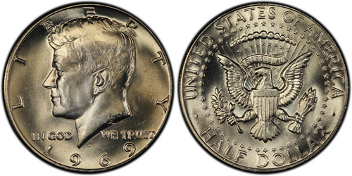 Obverse and reverse of a 1969 Silver Kennedy JFK Half Dollar