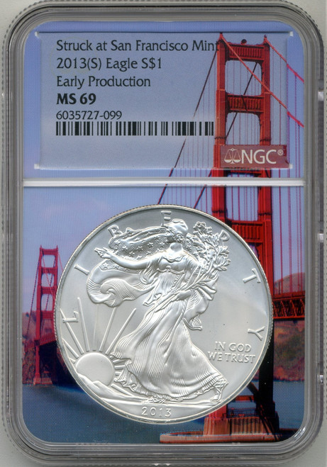 2013 (S) Silver Eagle NGC MS69 - Early Production