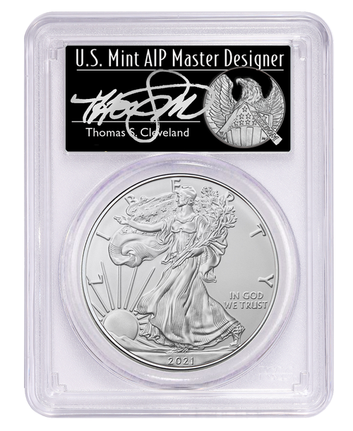 2021 Silver Eagle PCGS MS70 First Day of Issue Thomas Cleveland Signed obverse