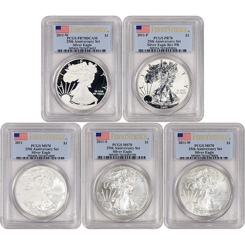 2011 Silver Eagle 25th Anniversary 5-Coin Set PCGS 70 First Strike obverse