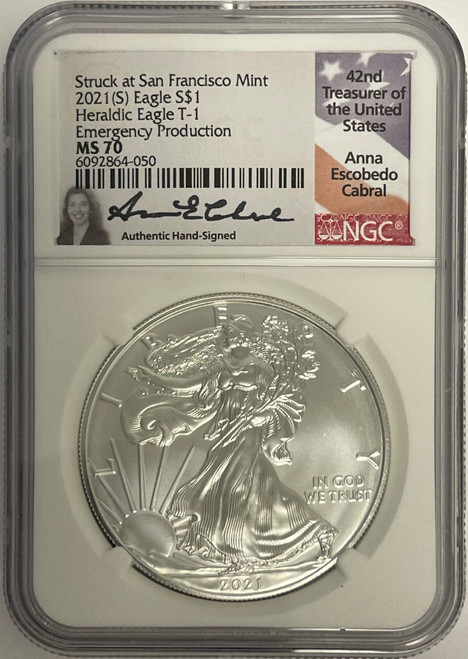 1986 (S) & 2021 (S) Silver Eagle NGC MS70 Anna Cabral - First and Last San Fran obverse 1