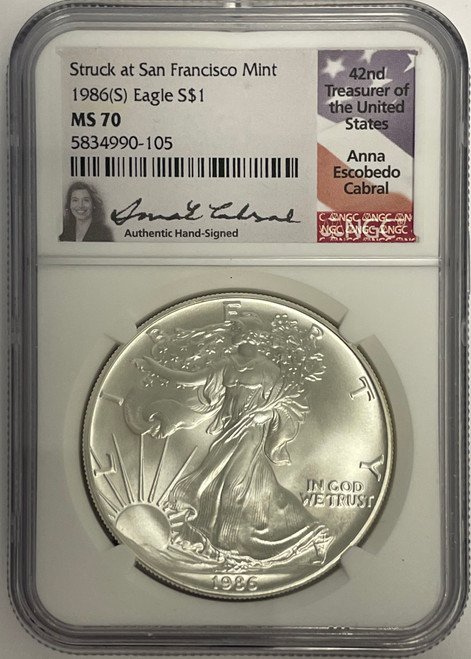 1986 (S) & 2021 (S) Silver Eagle NGC MS70 Anna Cabral - First and Last San Fran obverse 2