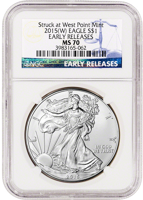 2015 (W) Silver Eagle NGC MS70 Early Releases (Struck at West Point)
