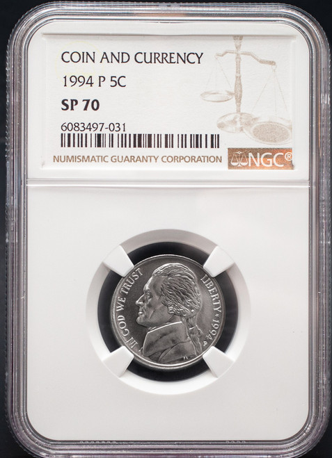 1994-P Jefferson NIckel NGC SP70 Ex. Coin & Currency Set obverse