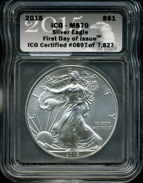 2006-2021 Silver Eagle ICG MS70 First Day of Issue