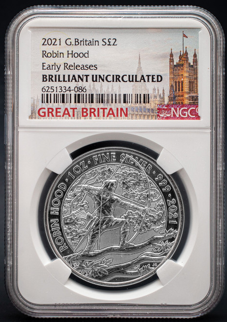 2021 G. Britain $2 Robinhood NGC Brilliant Uncirculated Early Releases obverse