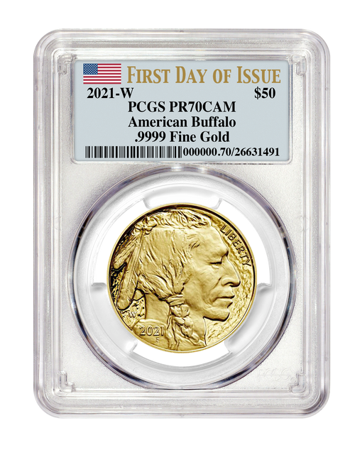 2021-W $50 Proof Gold Buffalo PCGS PR70 First Day of Issue obverse