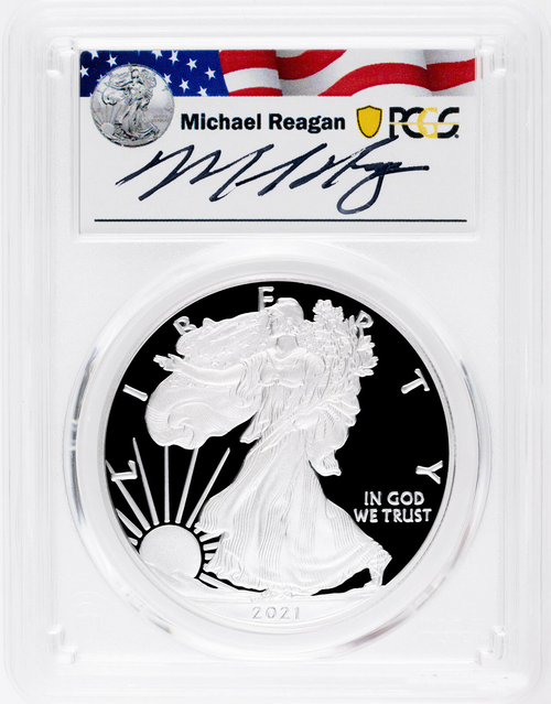 2021-W Proof Silver Eagle PCGS PR70 First Day of Issue Michael Reagan Signed obverse
