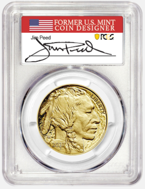 2021-W $50 Gold Buffalo PCGS PR70CAM First Day of Issue Jim Peed Signed obverse