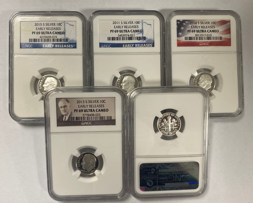 Silver Roosevelt Dime NGC PF69 UCAM - Mixed Dates