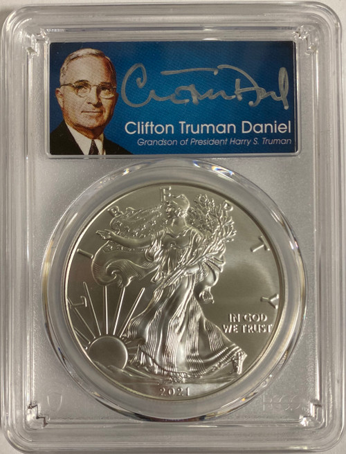 2021 Silver Eagle PCGS MS70 First Day of Issue Clifton Truman Signed  obverse