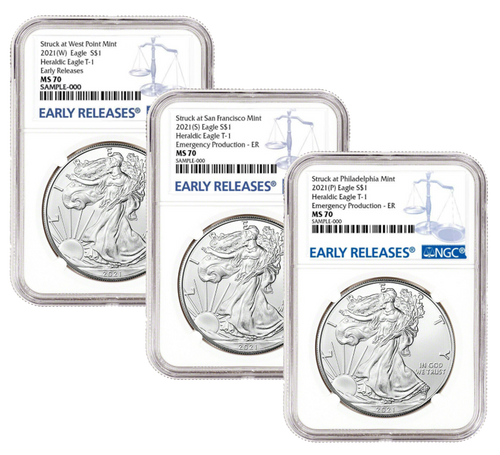 2021 (W) (P) (S) Silver Eagle NGC MS70 Early Release - Complete 3 Coin Mint Set