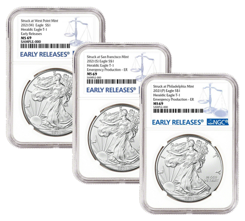 2021 (W) (P) (S) Silver Eagle NGC MS69 Early Release - Complete 3 Coin Mint Set