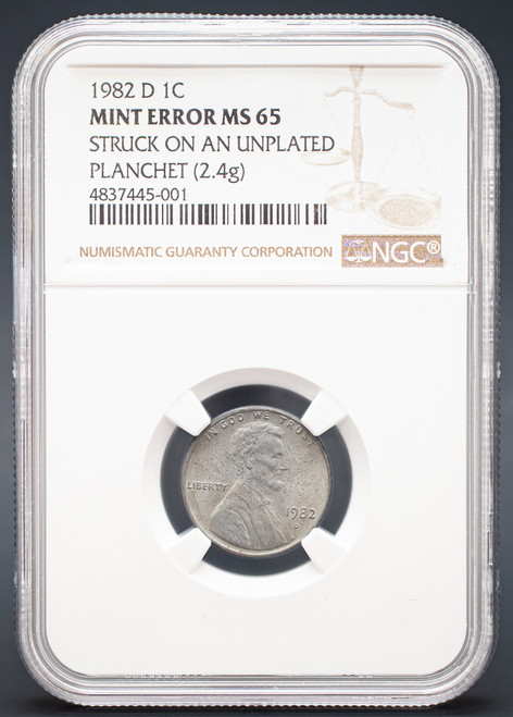 1982-D Lincoln Cent NGC MS64 - Struck on Unplated Planchet obverse