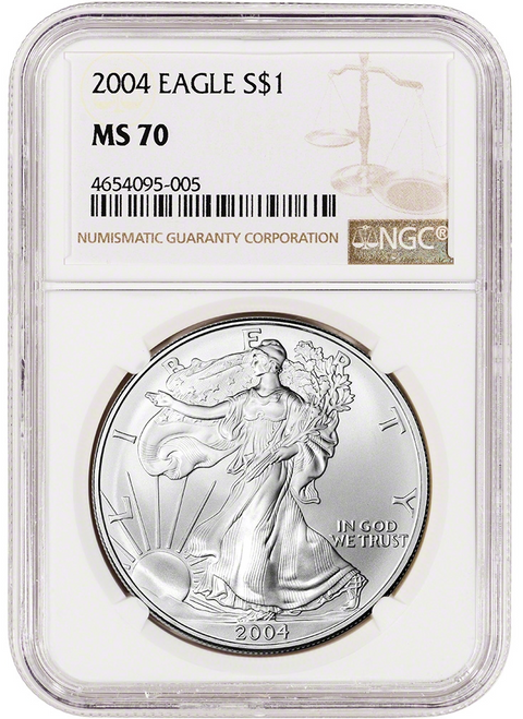 2004 Silver Eagle NGC MS70 obverse