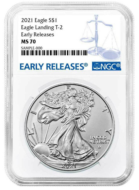 2021 Silver Eagle NGC MS70 Early Releases - Type 2