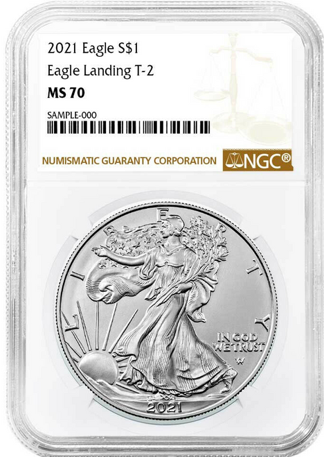 2021 Silver Eagle NGC MS70 Brown Label - Type 2  obverse