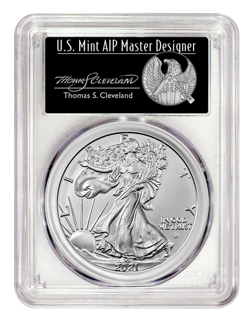2021 Silver Eagle Type 2 PCGS MS70 First Day of Issue - Thomas Cleveland Signed obverse