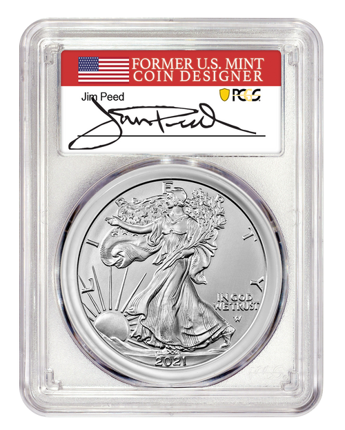 2021 Silver Eagle Type 2 PCGS MS70 First Day of Issue - Jim Peed Signed obverse