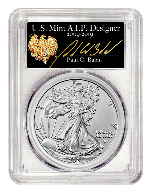 2021 Silver Eagle Type 2 PCGS MS70 First Day of Issue Signed by Paul C. Balan obverse