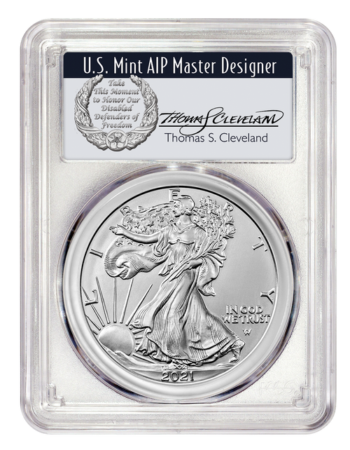 2021 Silver Eagle Type 2 PCGS MS70 First Day of Issue Signed by Thomas Cleveland Silver Label obverse