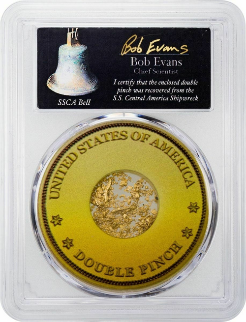 Gold Double Pinch from the SS Central America in PCGS Holder reverse