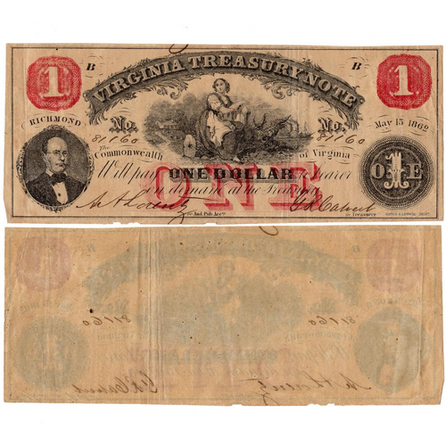 1862 $1 Virginia Treasury Notes Deal - Fine/Very Fine or Better