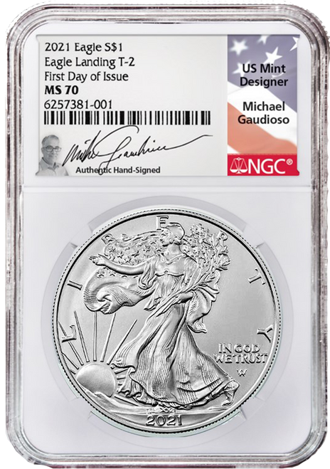 2021 Silver Eagle NGC MS70 First Day of Issue Type 2 Gaudioso obverse
