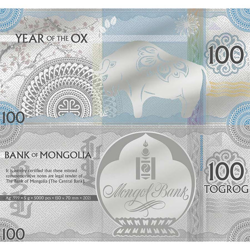 2021 MONGOLIA 5 GRAM YEAR OF THE OX 100 TOGROG MINTED SILVER BANK NOTE